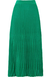Maje Pleated metallic knitted midi skirt