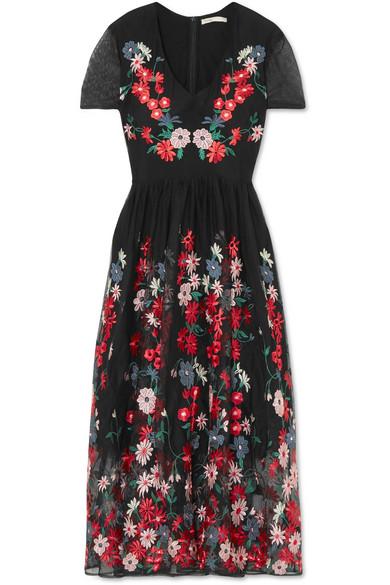 robe longue brodée fleurs rouge maje