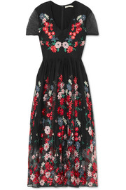 Maje Raphael embroidered tulle midi dress