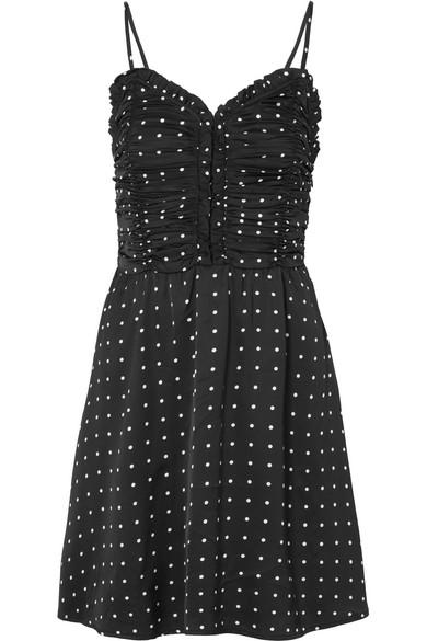 Maje Minikleid aus Satin mit Polka-Dots und Raffungen