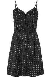 Maje Ruched polka-dot satin mini dress