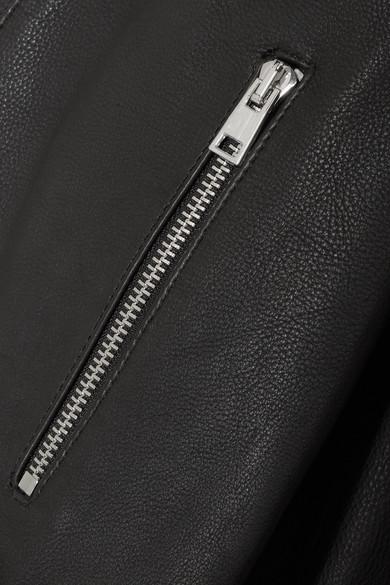 Maje Verzierte Lederjacke mit Velourslederbesatz