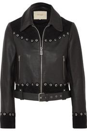 Maje Embellished suede-trimmed leather jacket