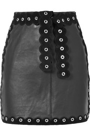 Maje Embellished suede-trimmed leather mini skirt