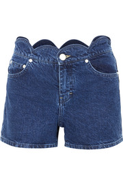 Maje Scalloped denim shorts