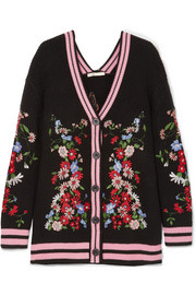 Maje Madene embroidered chunky-knit cardigan