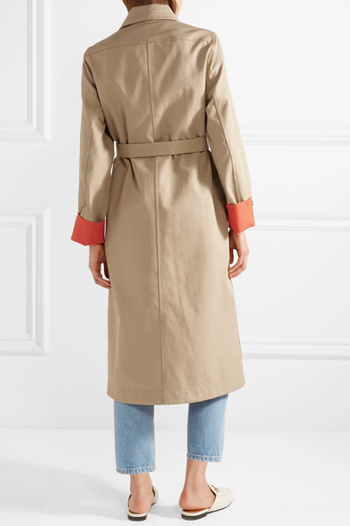 Reversible Two Tone Cotton Gabardine Trench Coat by Maje