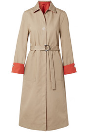 Maje Reversible two-tone cotton-gabardine trench coat
