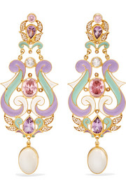 Percossi Papi Gold-plated, enamel and multi-stone earrings