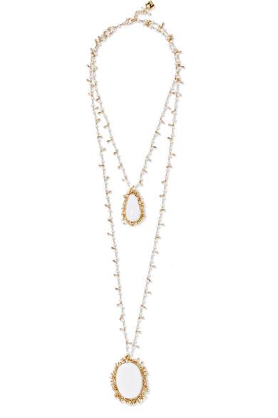 Clara Gold-tone Pearl Hand Chain - White Rosantica WAWaIV