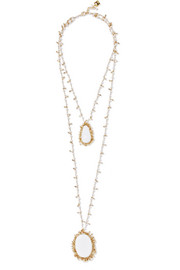 Flapper gold-tone, pearl and stone necklace