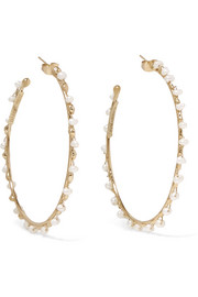 Angola gold-tone freshwater pearl hoop earrings