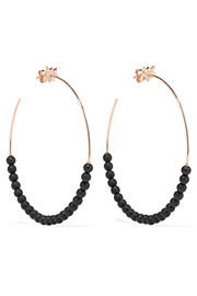 Explosion 18-karat rose gold, onyx and diamond hoop earrings