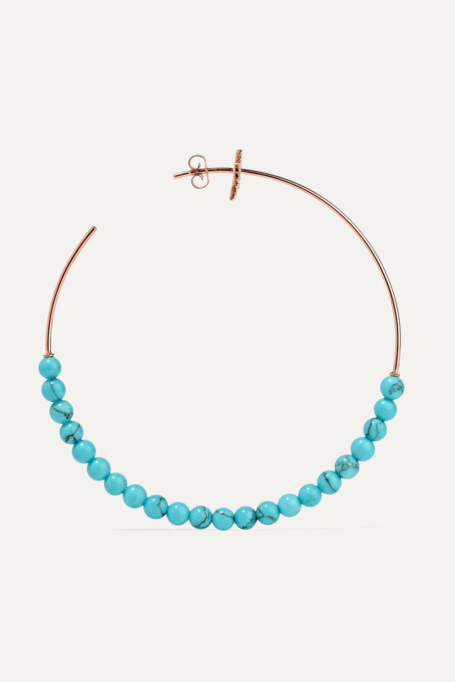 Diane Kordas 18-karat rose gold, diamond and turquoise hoop earrings