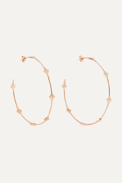 DIANE KORDAS SHIELD 18-KARAT ROSE GOLD DIAMOND HOOP EARRINGS