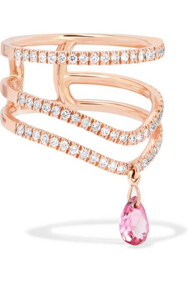Diane Kordas Triple 18-karat Rose Gold, Sapphire And Diamond Ring