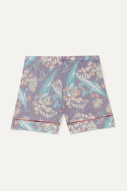 Printed cashmere and silk-blend shorts