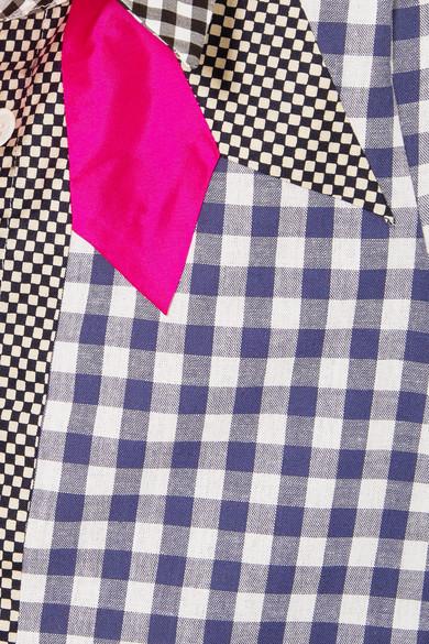 Ronald Van Der Kemp Cowgirl Hemd aus Baumwollpopeline mit Gingham-Karo in Patchwork-Optik