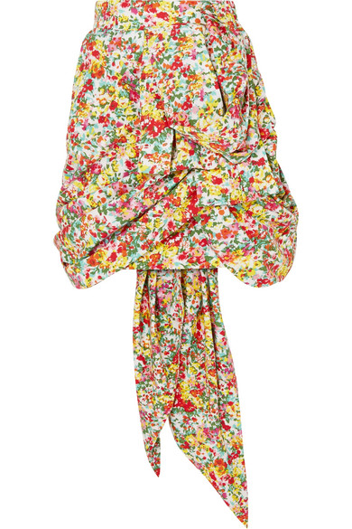 Ronald Van Der Kemp Minirock aus Baumwolle mit floralem Print und Raffungen