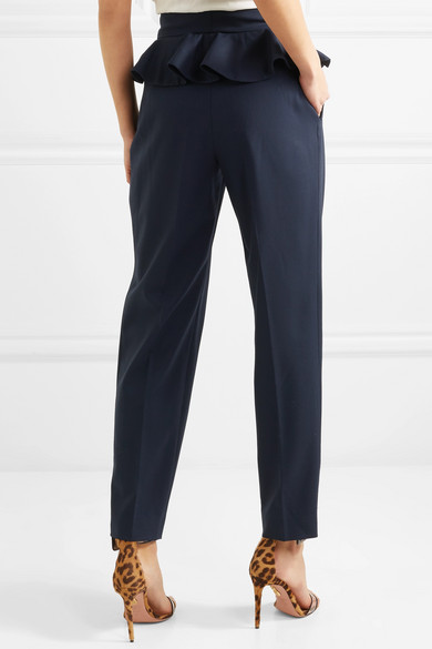 Ruffle-trimmed Wool-blend Straight-leg Pants - Navy Ronald van der Kemp hEH9Fkf