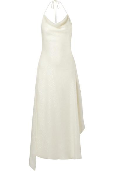 Juan Carlos Obando - Silk Fil Coupé Halterneck Dress - White