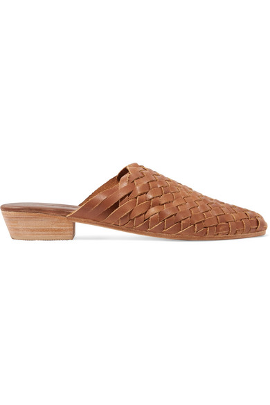 ST. AGNI Paris Woven Leather Slippers in Brown
