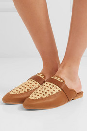 Siena leather and rattan slippers