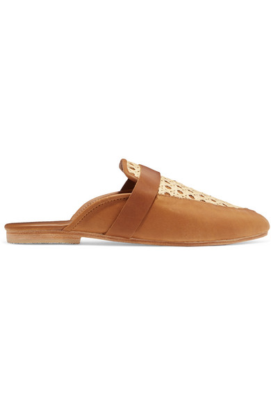 ST. AGNI Siena Leather And Rattan Slippers in Brown