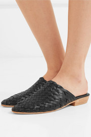 Paris woven leather slippers