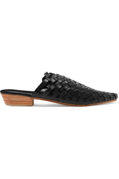 ST. AGNI Paris Woven Leather Slippers in Black