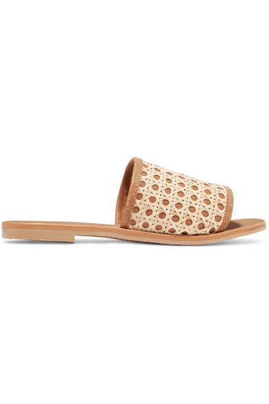 ST. AGNI Henni Leather And Rattan Slides in Tan