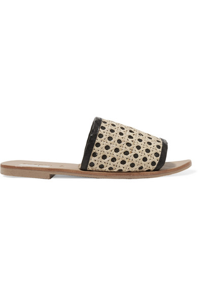 ST. AGNI Henni Leather And Rattan Slides in Beige