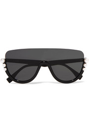 Fendi Faux pearl-embellished D-frame acetate sunglasses