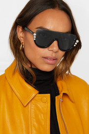 Faux pearl-embellished D-frame acetate sunglasses