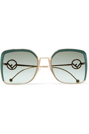 Oversized square-frame acetate and gold-tone sunglasses