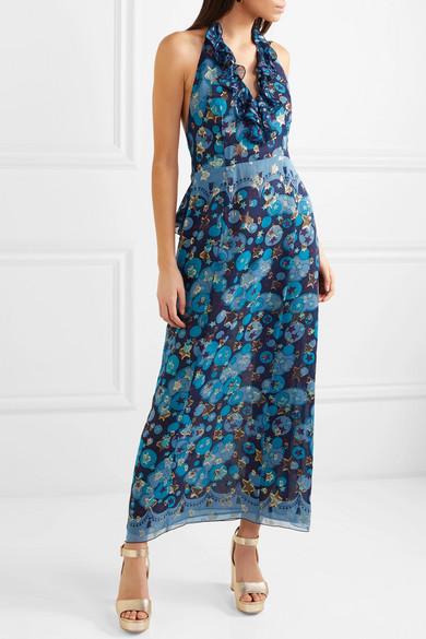 Anna Sui Curtain of Stars bedrucktes Neckholder-Kleid aus Chiffon aus einer Seidenmischung mit Fil Coupé
