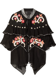 Poppies ruffled embroidered silk-georgette jacket