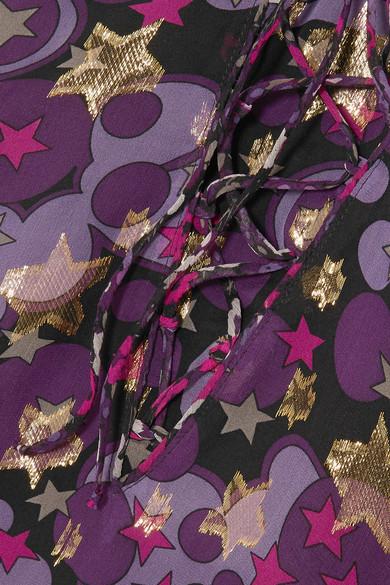 Anna Sui Curtain of Stars Minikleid aus einer Seidenmischung mit Metallic-Fil-Coupé