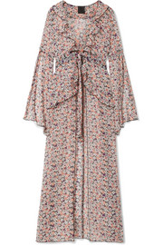 Scattered Flowers ruffled floral-print silk-chiffon robe