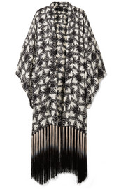 Chasing Hearts fringed metallic fil coupé silk-blend chiffon kimono