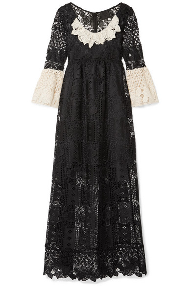 Floral Diamond And Medallion Crocheted Lace Midi Dress - Black Anna Sui 69lpT1RrcB