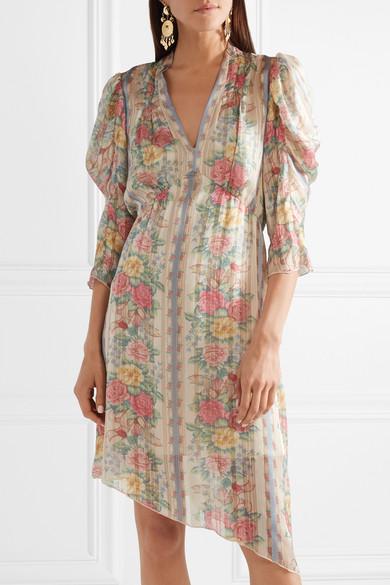 Whisper Rose Floral-print Asymmetric Satin Dress - Pink Anna Sui 9JJg0w34Q