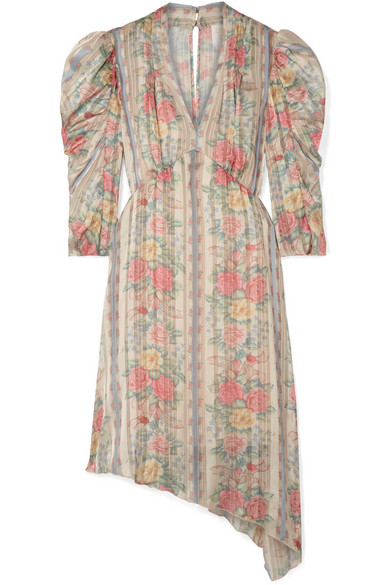 ANNA SUI WHISPER ROSE FLORAL-PRINT ASYMMETRIC SATIN DRESS