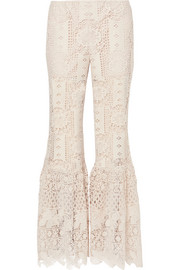 Guipure lace flared pants