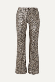 Twinkling Stars At Night sequined mesh wide-leg pants