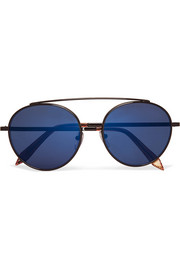 Victoria Beckham Round-frame metal mirrored sunglasses