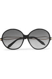 Victoria Beckham Round-frame acetate and gold-tone sunglasses