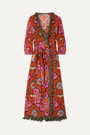 Lena tasseled printed cotton-voile maxi dress
