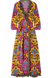 Rhode Resort Lena tasseled printed cotton-voile maxi dress