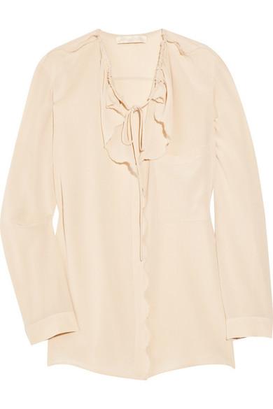 40aa2eed75c Vanessa Bruno | Scalloped silk crepe de chine blouse | NET-A-PORTER.COM
